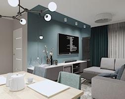 MIESZKANIE W RELAKSUJĄCYCH ODCIENIACH GŁĘBI OCEANU - Salon, styl minimalistyczny - zdjęcie od KRET'''KA PRACOWNIA PROJEKTOWA - Homebook