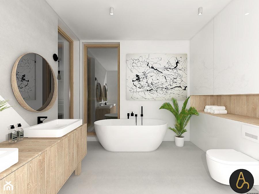 Motyw Przewodni Jasne Drewno średnia Biała łazienka W