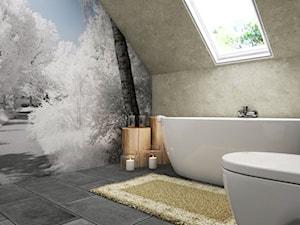 Dom Gdynia - Mała szara łazienka na poddaszu w domu jednorodzinnym z oknem, styl industrialny - zdjęcie od Studio 23A