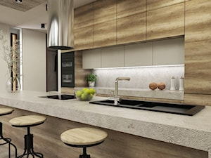 Dom w Miszewku - Średnia otwarta beżowa kuchnia dwurzędowa w aneksie z wyspą, styl industrialny - zdjęcie od Studio 23A