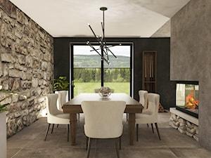 Dom w Miszewku - Duża otwarta beżowa szara jadalnia jako osobne pomieszczenie, styl industrialny - zdjęcie od Studio 23A
