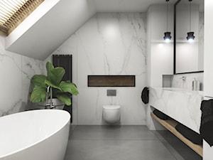 Dom Tczew - Mała biała łazienka na poddaszu w domu jednorodzinnym z oknem, styl nowoczesny - zdjęcie od Studio 23A