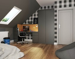 Dom Gdynia - Średni szary pokój dziecka dla chłopca dla dziewczynki dla ucznia dla nastolatka, styl industrialny - zdjęcie od Studio 23A