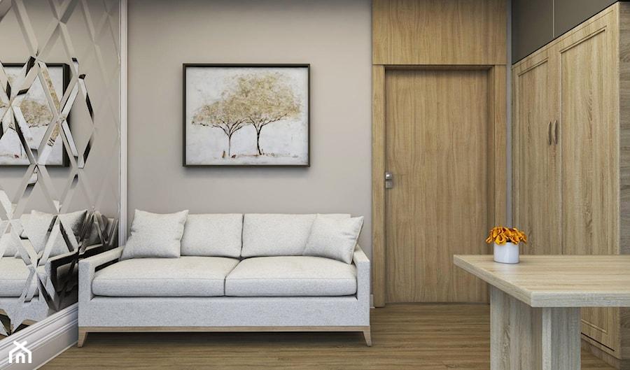 Aranżacje wnętrz - Biuro: Apartament Nowe Orłowo - Małe szare biuro domowe w pokoju, styl nowoczesny - Studio 23A. Przeglądaj, dodawaj i zapisuj najlepsze zdjęcia, pomysły i inspiracje designerskie. W bazie mamy już prawie milion fotografii!