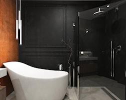 Dom Przodkowo - modern classic - Mała czarna łazienka na poddaszu w bloku w domu jednorodzinnym bez okna, styl eklektyczny - zdjęcie od Studio 23A