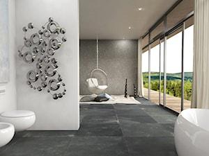 Minimalistycznie - dom Wejherowo - Duża szara łazienka na poddaszu w bloku w domu jednorodzinnym z oknem, styl minimalistyczny - zdjęcie od Studio 23A