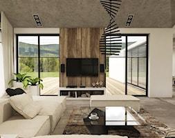 Dom w Miszewku - Duży szary biały salon z jadalnią, styl industrialny - zdjęcie od Studio 23A