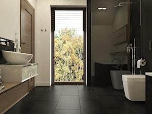 Dom Gdańsk Osowa - Średnia szara łazienka na poddaszu w bloku w domu jednorodzinnym z oknem, styl nowoczesny - zdjęcie od Studio 23A