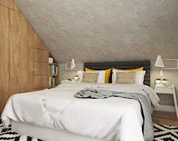 Dom Gdynia - Średnia biała szara sypialnia małżeńska na poddaszu, styl industrialny - zdjęcie od Studio 23A