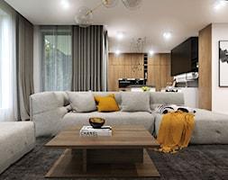 Apartament Gdynia Nowe Orłowo - Duży biały salon z kuchnią, styl nowoczesny - zdjęcie od Studio 23A - Homebook