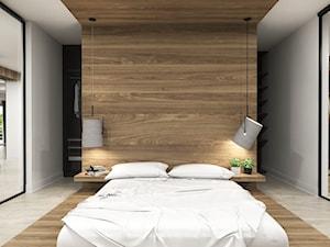 Apartament Iława - Duża biała sypialnia małżeńska z garderobą, styl nowoczesny - zdjęcie od Studio 23A