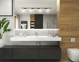 Dom Suchy Dwór - Średnia szara łazienka w bloku w domu jednorodzinnym z oknem, styl nowoczesny - zdjęcie od Studio 23A - Homebook