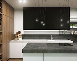 Apartament Gdynia Nowe Orłowo - Duża zamknięta szara czarna kuchnia w kształcie litery l z wyspą, s ... - zdjęcie od Studio 23A - Homebook