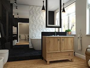 Dom Chwaszczyno - Średnia biała czarna łazienka na poddaszu w bloku w domu jednorodzinnym z oknem, styl eklektyczny - zdjęcie od Studio 23A