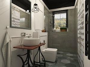 Dom Chwaszczyno - Średnia biała szara łazienka w bloku w domu jednorodzinnym z oknem, styl eklektyczny - zdjęcie od Studio 23A