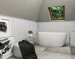 Dom Gdańsk Osowa 2 - Średnia szara łazienka na poddaszu w domu jednorodzinnym z oknem, styl nowocze ... - zdjęcie od Studio 23A - Homebook