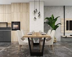 Apartament Gdynia Altoria - Duża otwarta biała beżowa szara jadalnia w kuchni w salonie, styl industrialny - zdjęcie od Studio 23A