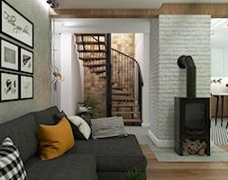 Dom Gdynia - Średni szary biały brązowy salon z kuchnią z jadalnią, styl industrialny - zdjęcie od Studio 23A