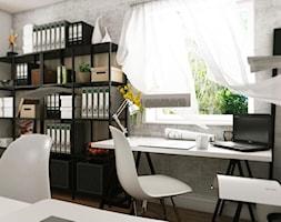 Dom Gdynia - Średnie szare biuro domowe kącik do pracy, styl industrialny - zdjęcie od Studio 23A