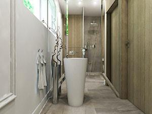 Dom Gdańsk Osowa 2 - Duża biała łazienka w domu jednorodzinnym z oknem, styl nowoczesny - zdjęcie od Studio 23A