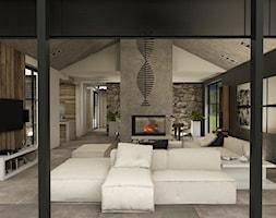 Dom w Miszewku - Duży szary czarny salon z jadalnią, styl industrialny - zdjęcie od Studio 23A
