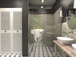 Dom w Kosówce - eklektycznie klasyczny - Mała szara łazienka w bloku w domu jednorodzinnym z oknem, styl eklektyczny - zdjęcie od Studio 23A