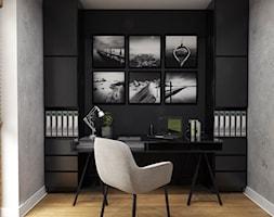 Dom Suchy Dwór - Średnie czarne szare biuro domowe w pokoju, styl nowoczesny - zdjęcie od Studio 23A
