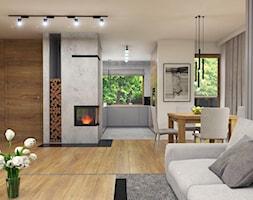 Dom Suchy Dwór - Duży szary salon z kuchnią z jadalnią, styl nowoczesny - zdjęcie od Studio 23A - Homebook