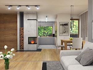 Dom Suchy Dwór - Duży szary salon z kuchnią z jadalnią, styl nowoczesny - zdjęcie od Studio 23A