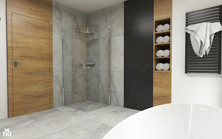 Dom Suchy Dwór - Średnia czarna szara łazienka na poddaszu w bloku w domu jednorodzinnym bez okna, styl nowoczesny - zdjęcie od Studio 23A