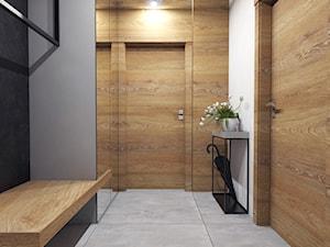 Dom Suchy Dwór - Mały biały beżowy szary hol / przedpokój, styl nowoczesny - zdjęcie od Studio 23A