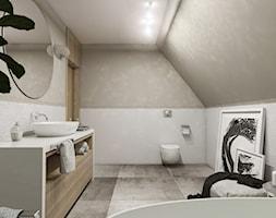 Dom Gdańsk Osowa 2 - Średnia szara łazienka na poddaszu w domu jednorodzinnym bez okna, styl nowoczesny - zdjęcie od Studio 23A