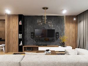 Apartament Gdynia Nowe Orłowo - Duży szary beżowy salon z bibiloteczką z jadalnią, styl nowoczesny - zdjęcie od Studio 23A