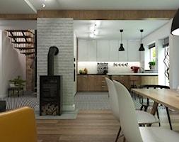 Dom Gdynia - Średnia otwarta biała jadalnia w kuchni w salonie, styl industrialny - zdjęcie od Studio 23A