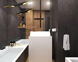 Apartament Gdynia Nowe Orłowo - Mała czarna łazienka w bloku w domu jednorodzinnym bez okna, styl n ... - zdjęcie od Studio 23A - Homebook