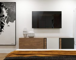 Apartament Gdynia Nowe Orłowo - Mała szara sypialnia małżeńska, styl nowoczesny - zdjęcie od Studio 23A - Homebook