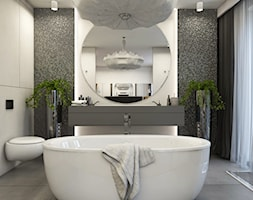 Apartament Nowe Orłowo - Średnia biała czarna łazienka na poddaszu w bloku w domu jednorodzinnym z oknem, styl nowoczesny - zdjęcie od Studio 23A