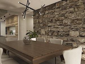 Dom w Miszewku - Średnia otwarta beżowa jadalnia jako osobne pomieszczenie, styl industrialny - zdjęcie od Studio 23A