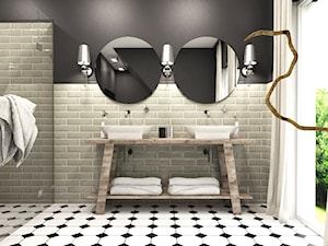 Dom w Kosówce - eklektycznie klasyczny - Mała czarna szara łazienka na poddaszu w bloku w domu jednorodzinnym z oknem, styl eklektyczny - zdjęcie od Studio 23A
