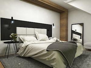 Dom Suchy Dwór - Średnia biała czarna sypialnia małżeńska na poddaszu, styl nowoczesny - zdjęcie od Studio 23A