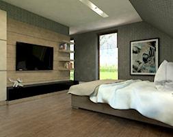Dom Wygodny 1 - Średnia beżowa sypialnia małżeńska na poddaszu z balkonem / tarasem, styl nowoczesny - zdjęcie od Studio 23A