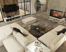 Dom w Miszewku - Średni szary salon z jadalnią, styl industrialny - zdjęcie od Studio 23A