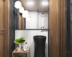 Apartament Gdynia Nowe Orłowo - Średnia biała czarna łazienka w bloku w domu jednorodzinnym bez okna ... - zdjęcie od Studio 23A - Homebook