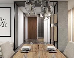 Apartament Gdynia Altoria - Średnia biała szara jadalnia w salonie, styl industrialny - zdjęcie od Studio 23A