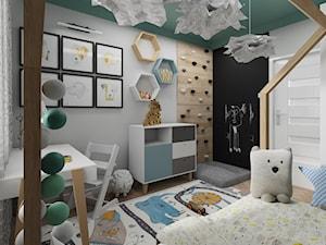 Mieszkanie dla 2+1 - Średni szary czarny pokój dziecka dla chłopca dla dziewczynki dla ucznia dla malucha dla nastolatka, styl skandynawski - zdjęcie od ARThoME Klaudia Chmielowska