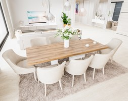 Dom w pastelach - Średni beżowy salon z jadalnią - zdjęcie od Pixels - Homebook