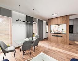 Mieszkanie Chrobry - Średni biały salon z kuchnią z jadalnią, styl nowoczesny - zdjęcie od Pixels