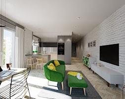 Mieszkanie Łódź 2 - Duży biały salon z kuchnią z jadalnią z tarasem / balkonem, styl nowoczesny - zdjęcie od Pixels