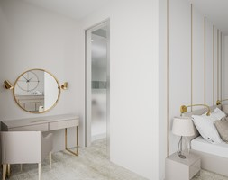 Dom w pastelach - Średnia biała sypialnia małżeńska z łazienką - zdjęcie od Pixels - Homebook