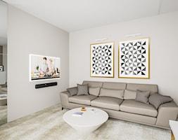 Dom w pastelach - Średnie beżowe biuro kącik do pracy w pokoju - zdjęcie od Pixels - Homebook